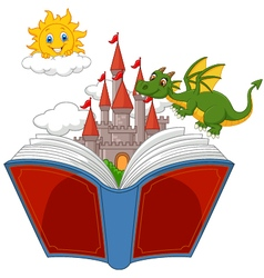 Story book with castle dragon and sun vector