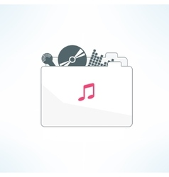 Music folder icon in modern flat design vector