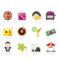 Casino and gambling icons vector