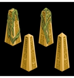 Four gold columns with egyptian signs vector