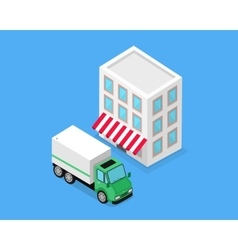 Isometric building and lorry car design vector
