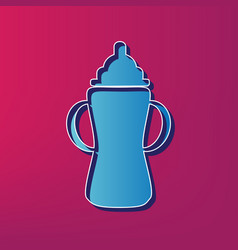 Baby bottle sign blue 3d printed icon on vector