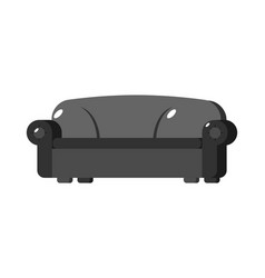 Black sofa isolated big large soft couch on white vector