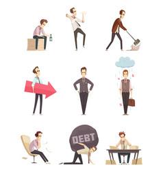 Business failure retro cartoon icons vector