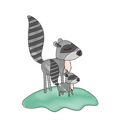cartoon raccoon mom and cub over grass in colored vector image vector image