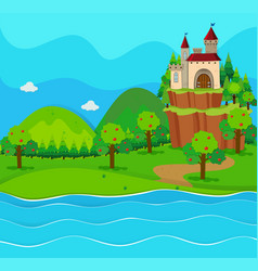 Castle towers by the river vector