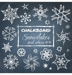 Chalkboard set of snowflakes vector image vector image