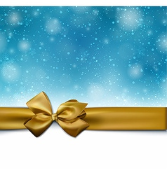 Christmas blue background with golden bow vector image