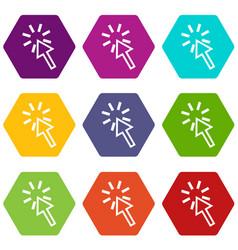 click icon set color hexahedron vector image