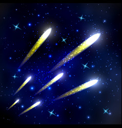 Comets flying through space and starry sky vector