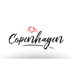 Copenhagen europe european city name love heart vector
