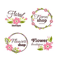 floral shop badge decorative frame template vector image vector image