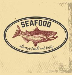 fresh seafood hand drawn salmon on grunge vector image vector image