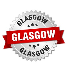 Glasgow round silver badge with red ribbon vector