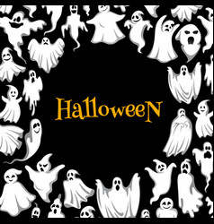 halloween horror ghost poster for holiday design vector image vector image