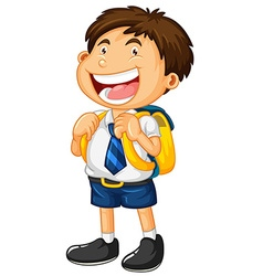 Happy boy in school uniform vector image