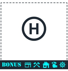 Hospital icon flat vector