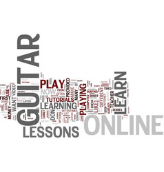 Learn guitar online text background word cloud vector