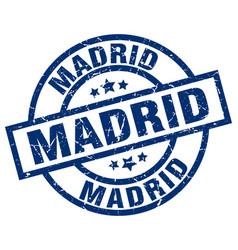 Madrid blue round grunge stamp vector