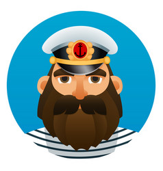 portrait of captain cartoon image vector image vector image