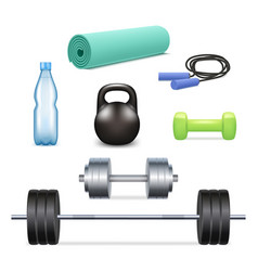 realistic gym icon set vector image