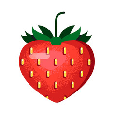 ripe red strawberry in a flat style vector image