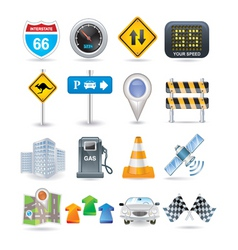 road and car icon set vector image vector image