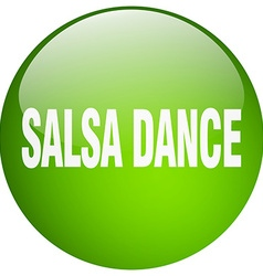 Salsa dance green round gel isolated push button vector