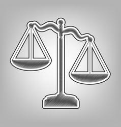 scales of justice sign pencil sketch vector image