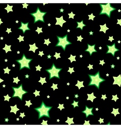 Seamless bacgkround with cartoon fluorescent stars vector