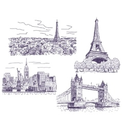 Sightseeings drawings set vector