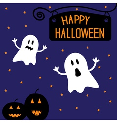 Two funny halloween ghosts and pumpkins vector