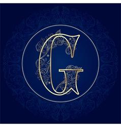 Vintage floral alphabet letter G vector image vector image