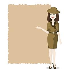 woman presentation blank travel agency vector image