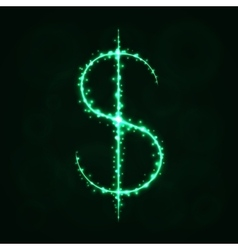 Dollar sign silhouette of lights vector