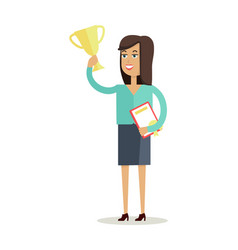 Woman winner character in flat design vector