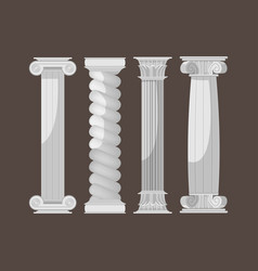 Greek culture antique columns set vector