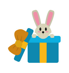 Cute rabbit hiding gift box surprise vector