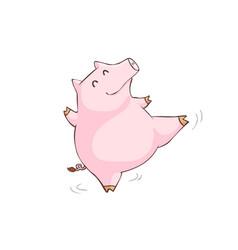 happy pink pig happy dance cartoon xa vector image