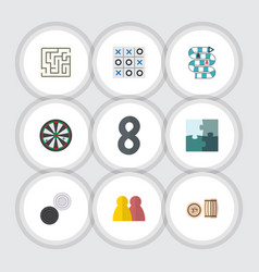 Flat icon play set of people chequer lottery and vector