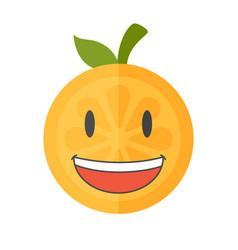 Emoji - laughing orange smile isolated vector