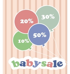 Trendy colorful baloons with discounts for baby vector