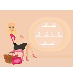 Fashion girl shopping in shoe shop vector image