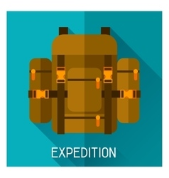 Tourist creative of backpack in flat vector