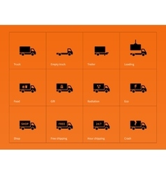Truck and delivery icons on orange background vector
