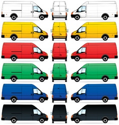 Delivery vans set vector