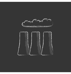 Factory pipes drawn in chalk icon vector