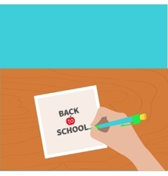 Back to school greeting card chalk text hand vector