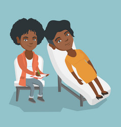 African psychologist having session with a patient vector