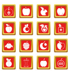 Apple icons set red vector